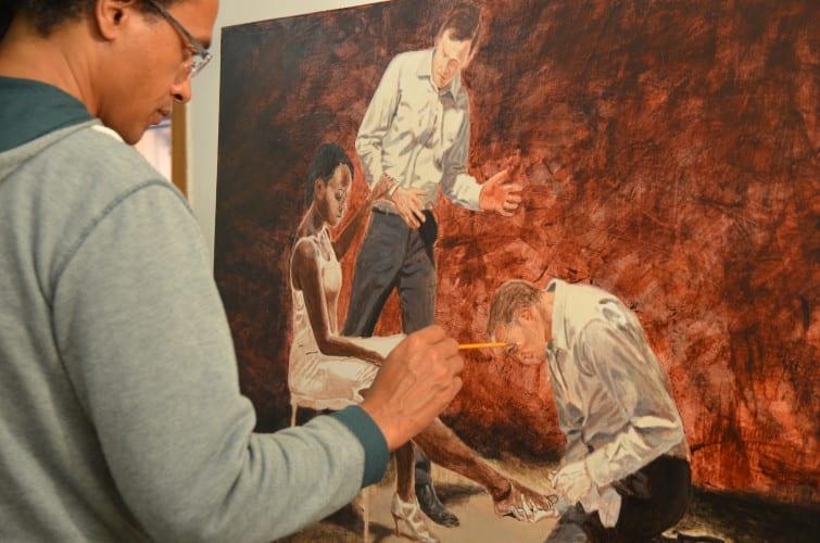 Donkor working his studio. Photograph by Zanele Mashinini
