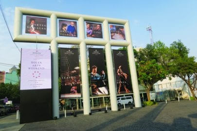 Street advertisement for The Rolex Arts Weekend in Mexico City