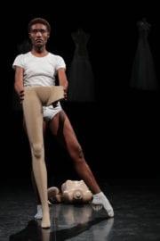 Nelisiwe Xaba deconstructs the balletic body in The Last Attitude, choreographed with Mamela Nyamza. Photo by John Hogg..