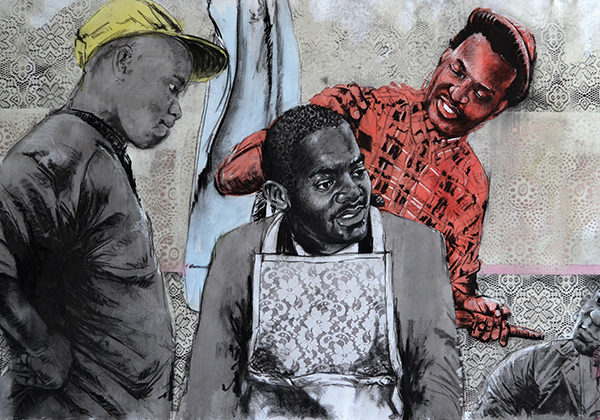 Bambo Sibiya, Modern Barber. Pastel and charcoal on canvas, 101x207cm, 2015. R28 500 incl.