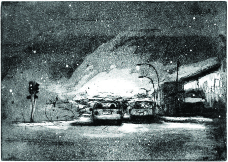 Themba Khumalo, Mid-night Drive, Etching, 2015