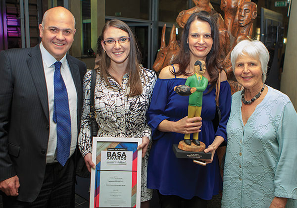 Andrew Konig (CEO of Redefine), Nicolé Smit (Marketing Assistant at Redefine), Marijke Coetzee (Head of Marketing and Communications at Redefine) and Rosemary Nalden (founder and director of Buskaid) at the BASA Awards