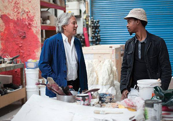 Mentor Anish Kapoor and protégé Nicholas Hlobo in Kapoor's studio. London, UK, 2011 ©Rolex/Hugo Glendinning