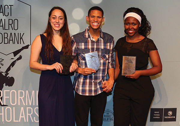 ACT | DALRO | Nedbank Performing Arts Scholarships Award Winners Carla Smit Caleb Heynes and Andiswa Mbolekwa. Photograph by Debbie Yazbek