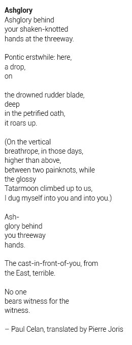 Paul Celan translated poem library Pierre Joris Ashglory